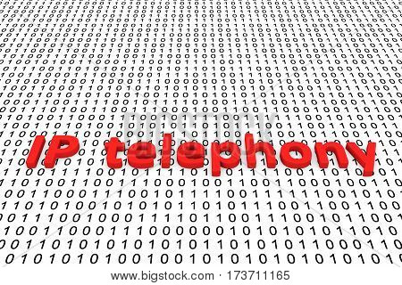 ip telephony in the form of binary code, 3D illustration