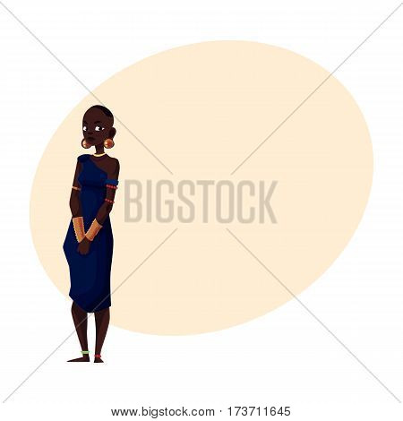 Native aborigine woman from African tribe wearing bracelets and bead necklace, cartoon vector illustration with place for text. Beautiful female African aborigine, full length portrait
