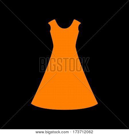 beautiful long dress sign Orange icon on black background. Old phosphor monitor. CRT.