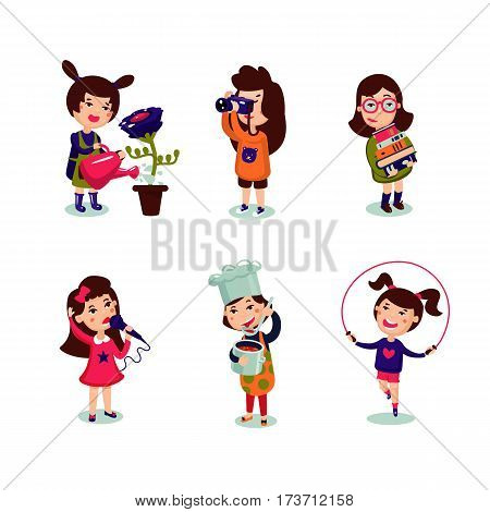 Girls interests set with gardening photo musical cooking and sport hobbies isolated vector illustration