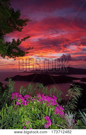 Sunset over English Harbour, Antigua taken from Shirley Heights. These really were the colours!