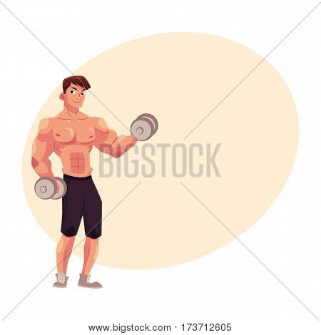 Young man, male bodybuilder, weightlifter doing bicep workout, training arms with two dumbbells, cartoon vector illustration with place for text. Male bodybuilder doing bicep workout