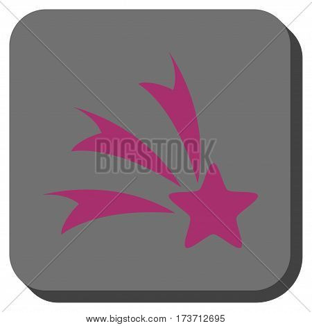 Falling Star interface toolbar button. Vector pictogram style is a flat symbol centered in a rounded square button, purple and gray colors.