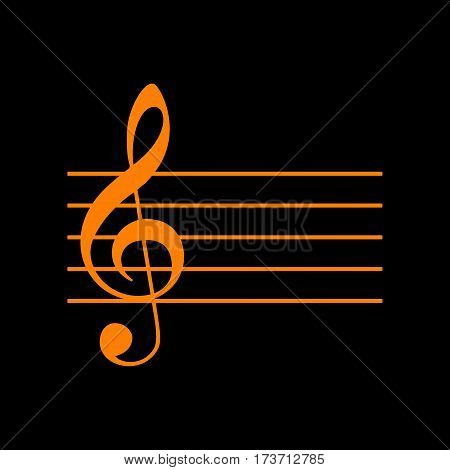 Music violin clef sign. G-clef. Orange icon on black background. Old phosphor monitor. CRT.