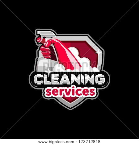 logo icon badge emblem house cleaning service vector