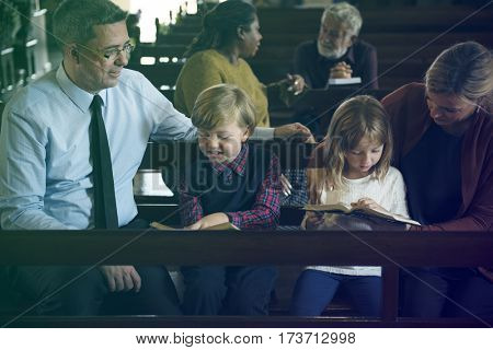 Family Sitting Church Believe Religion
