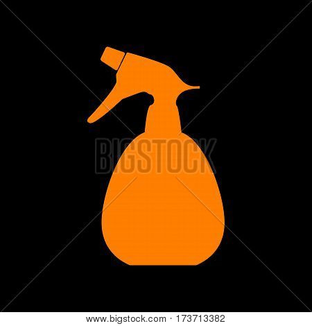 Spray bottle for cleaning sign. Orange icon on black background. Old phosphor monitor. CRT.