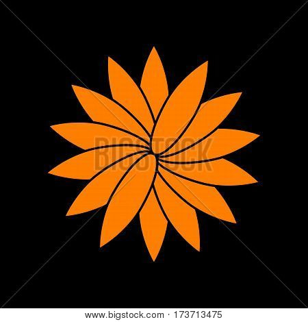 Flower sign. Orange icon on black background. Old phosphor monitor. CRT.