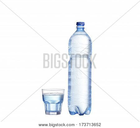 Soda Water Bottle With Blank Label. Isolated On White
