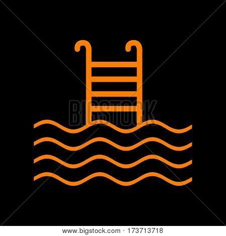 Swimming Pool sign. Orange icon on black background. Old phosphor monitor. CRT.