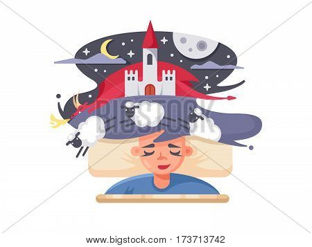 Children fairy tale dream with fabulous castle and red dragon. Vector illustration