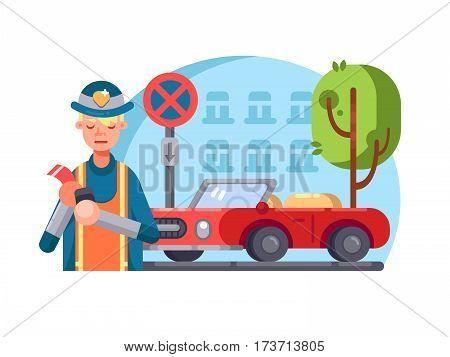 Patrol policeman writes fine for wrong parking. Vector flat illustration
