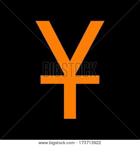 Chinese Yuan sign. Orange icon on black background. Old phosphor monitor. CRT.