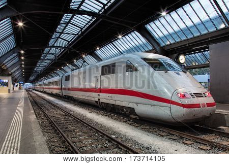 Zurich, Switzerland - 9 October, 2016: a train from Germany at a platform of the Zurich main railway station. Zurich main railway station is the largest railway station in Switzerland and one of the busiest railway stations in the world.
