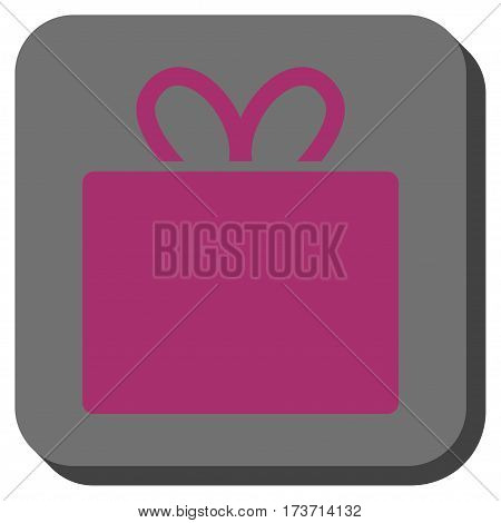 Gift square icon. Vector pictogram style is a flat symbol on a rounded square button, purple and gray colors.