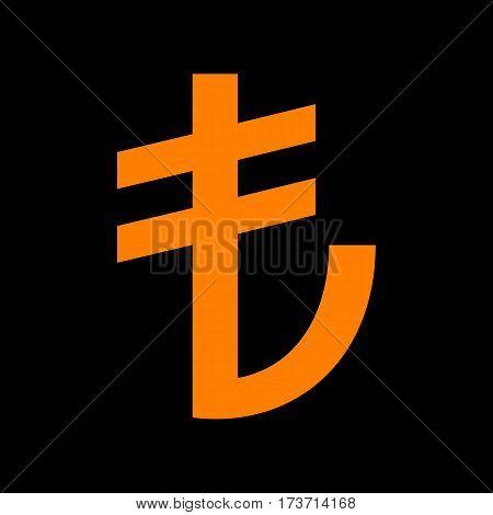 Turkiey Lira sign. Orange icon on black background. Old phosphor monitor. CRT.