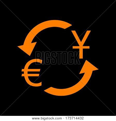 Currency exchange sign. Dollar and Euro. Orange icon on black background. Old phosphor monitor. CRT.