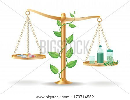 Alternative medicine libra balance concept with drugs pills on one side and natural herbs and plants on another plate vector illustration