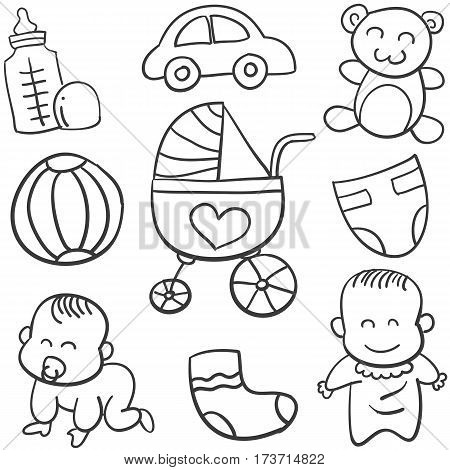 Doodle of baby object vector art collection stock