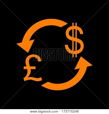 Currency exchange sign. UK: Pound and US Dollar. Orange icon on black background. Old phosphor monitor. CRT.