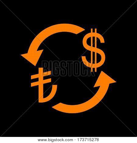Currency exchange sign. Turkey Lira and US Dollar. Orange icon on black background. Old phosphor monitor. CRT.