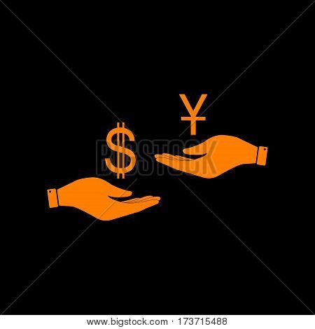 Currency exchange from hand to hand. Dollar and Yuan. Orange icon on black background. Old phosphor monitor. CRT.