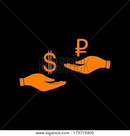Currency exchange from hand to hand. Dollar and Rouble. Orange icon on black background. Old phosphor monitor. CRT.