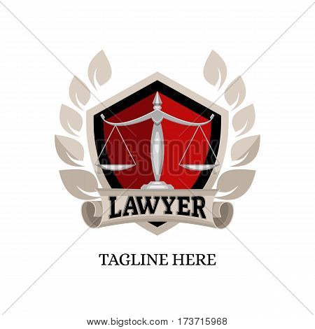 logo icon badge emblem lawyer with scales vector