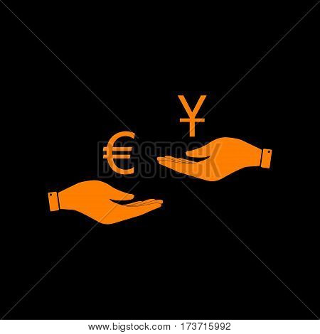 Currency exchange from hand to hand. Euro and Yuan. Orange icon on black background. Old phosphor monitor. CRT.