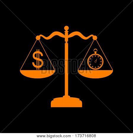 Stopwatch and dollar symbol on scales. Orange icon on black background. Old phosphor monitor. CRT.