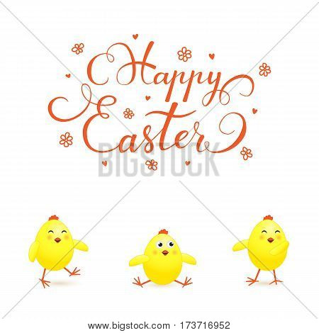 Funny yellow chicks on white background and holiday lettering Happy Easter, illustration.
