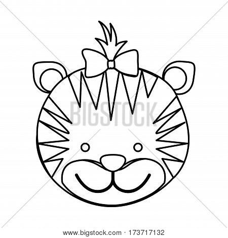 figure face tiger ribbon bow head icon, vector illustration design image