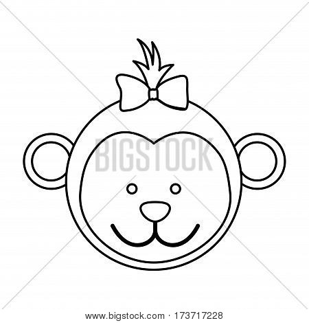 figure face monkey ribbon bow head icon, vector illustration design