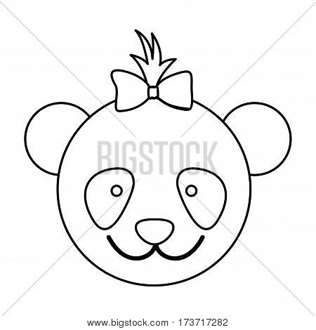 figure face bear bow head icon, vector illustration design image