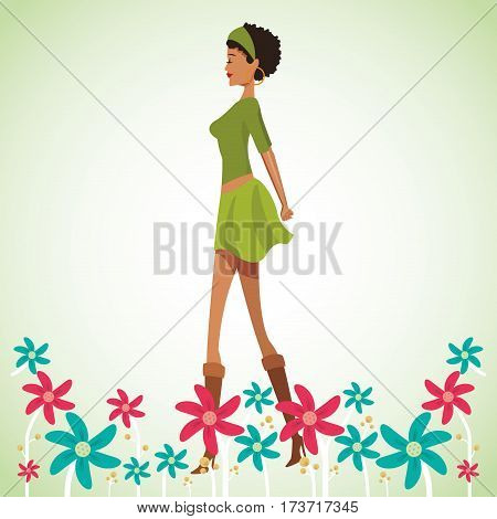 beauty woman with flowers decorate vector illustration eps 10