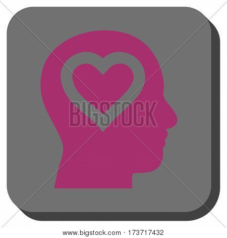 Love In Head interface toolbar button. Vector pictogram style is a flat symbol on a rounded square button, purple and gray colors.
