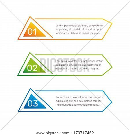 Infographic triangular shape colorful numbers from 1 to 3 and text columns vector illustration