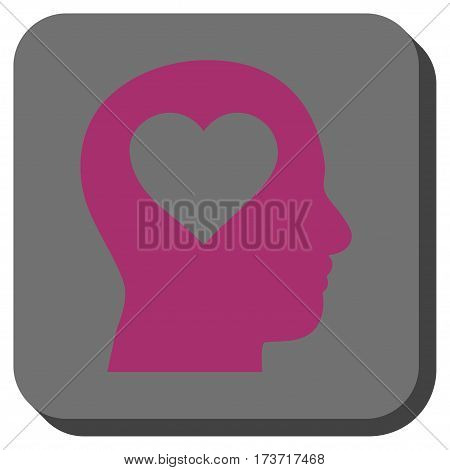 Love In Head square button. Vector pictogram style is a flat symbol centered in a rounded square button, purple and gray colors.