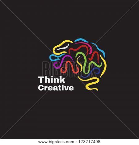 Vector logo with varicoloured human brain.Think creative.