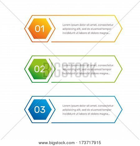Infographic hexagon shape colorful numbers from 1 to 3 and text columns vector illustration