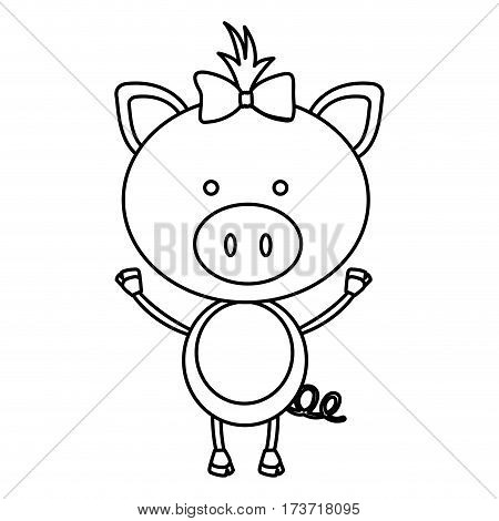 figure teddy pig bow head, vector illustration design