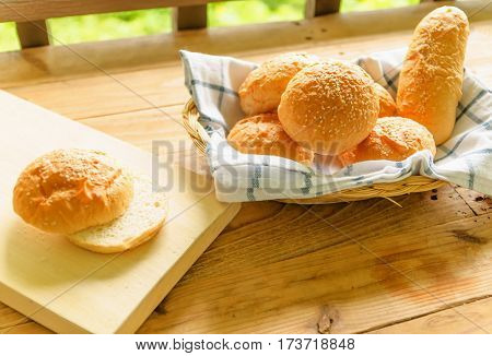 A delicious breakfast with bread for background