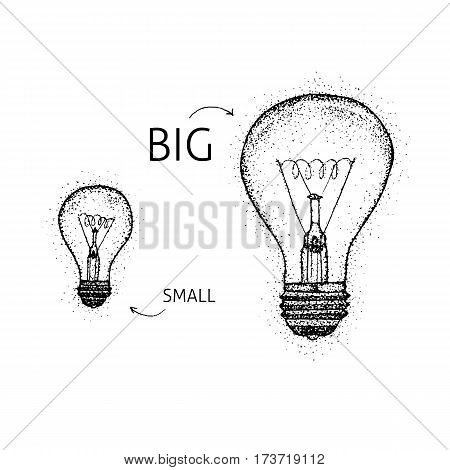 Dotwork Big Small Lightbulbs. Vector Illustration of Lamp. Tattoo Hand Drawn Sketch.