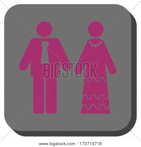 Newlyweds rounded button. Vector pictograph style is a flat symbol in a rounded square button, purple and gray colors.