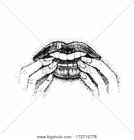Dotwork Bite Nails. Vector Illustration of Mouth Lips and Fingers. Hand Drawn Sketch.