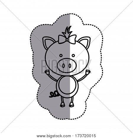 contour teddy pig bow head, vector illustration design