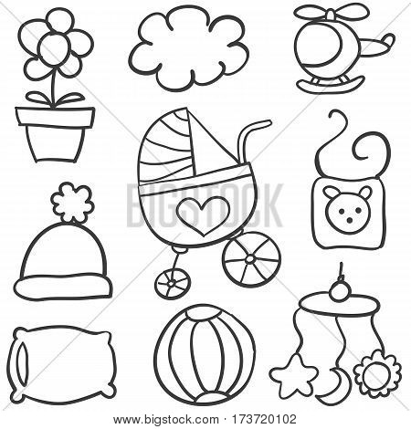 Doodle of baby object collection stock vector art