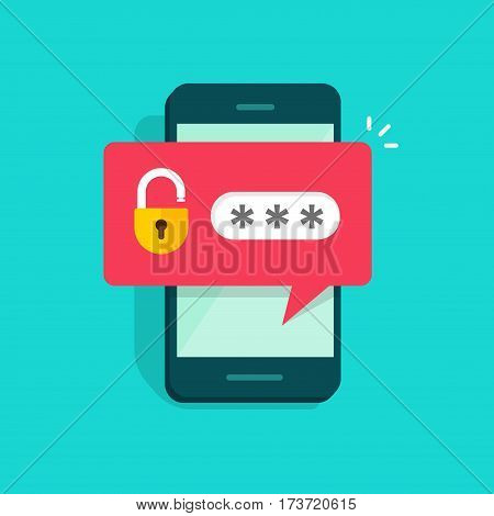 Mobile phone unlocked notification button and password field vector, concept of smartphone security, personal access, user authorization, login, protection technology