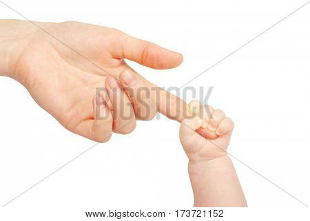 Baby hand holding mother finger isolated on white