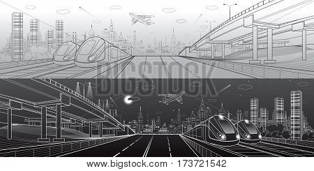 Infrastructure and transportation panorama. Automobile highway, overpass, airplane fly, two trains in depot, day and night city, towers and skyscrapers, urban scene, vector design art
